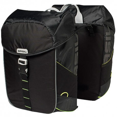 Basil Miles Double Pannier Bag Black Lime