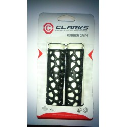 Clarks Hex Rubber Handlebar Grips in Black and White