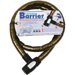 Oxford Barrier Armoured Spiral Cable Lock OF145 1.5M Smoke