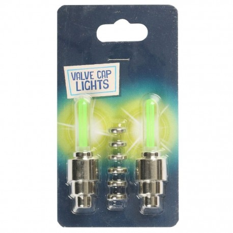 Halfords Cycle Valve Cap Lights Green Pair