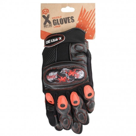 X-Rated Kids BMX Knuckle Gloves - Medium - Black and Red