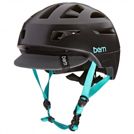 Bern Paker Womens Cycle Helmet Satin Black Flip Visor