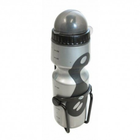 ETC Silver Water Bottle 650ml + Black Alloy Cage Set
