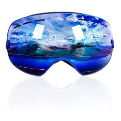 Nipsu Ski Goggles Black Frame Revo Blue Lens UV400 Protection