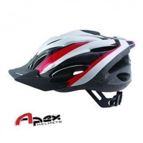 Apex Zephyr Bicycle Helmet - Large (58-61cm) - Silver/Red