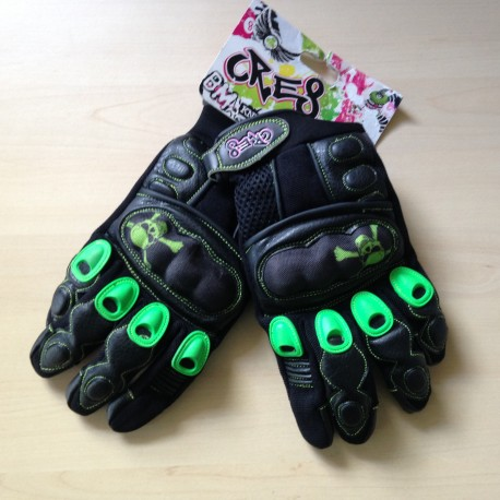 Cre8 BMX Full Finger Knuckle Gloves Black/Green Large Pair