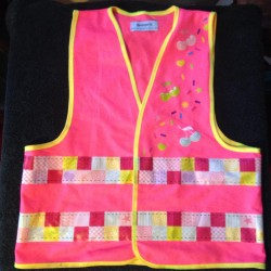 Kids Cycling Safey Vest/Waistcoat - Pink Cherries