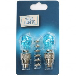 Halfords Cycle Valve Cap Lights Blue Scull Pair